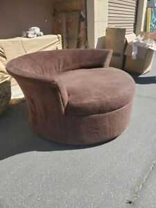 Sectional Sofa w/ chaise and Round Swivel Chair (No Ottoman)