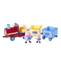 "Peppa Pig Grandpa Pig's Toy 12"" Push Along Train w/ 2 Cars & George Figurine"