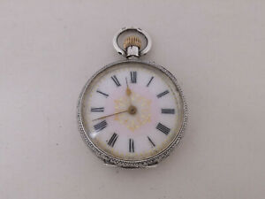 Swiss Solid Sterling Silver 935 Ladies Pocket Fob Watch
