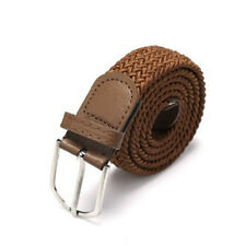 F Men's Leather Covered Buckle Woven Elastic Stretch Belt Stretchable