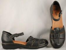 Women's Clarks Black Leather Closed Heel and Toe Sandals US 9.5 UK 7 EUR 41
