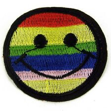 Gay Rainbow face Embroidered patch Sew on cloth badge Sewing Craft Costume  P10