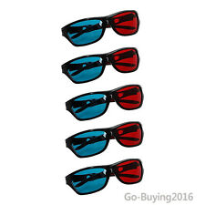 5 Pcs Red and Blue Anaglyph Dimensional 3D  Glasses For TV Movie Game DVD