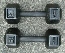 Vintage 15 lbs York Dumbbells Set Hex-Head