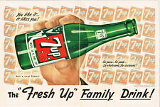 """Original 1951 7up """"Family Drink"""" 2 page ad 10½ x 14 inches tavern trove"""