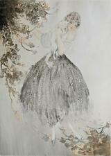LOUIS ICART (1888-1950) Signed Aquatint Etching LADY WITH CAT - 20TH CENTURY