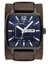s.Oliver Herren Leder Retro Armbanduhr Unterlegband Braun Schwarz SO-3048-LQ