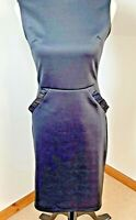 UK Collection London Size 10 Black Stretchy Bodycon Pencil Dress Frilly Pockets