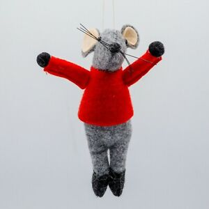 Mr MOUSE red jumper XL CHRISTMAS TREE DECORATION felt fabric NEW from CoCo&Ned