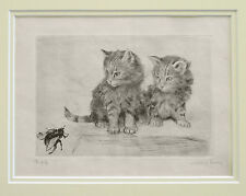 VERY CUTE KITTENS SIGNED DRYPOINT ETCHING