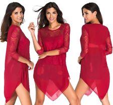 Maglia maglietta scollo aperta Svasata Party T-shirt Lace Chiffon Blouse Top S