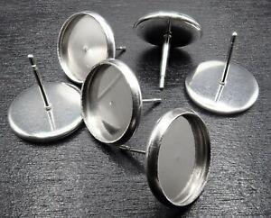 f/ür Schmuckherstellung leere Fassung Fassung Cheriswelry 50 St/ück Edelstahl-Ohrstecker Cabochon 10 mm