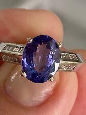 18k WG 3.18TGW Tanzanite, Baguette Diamond Ring 7 1/2