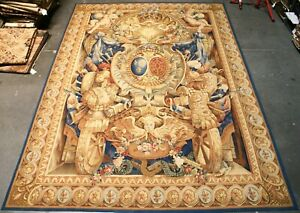 Aubusson Tapestry Louis XIV Armorial Coat of Arms Wool Wall Hanging Rug 9'x12'