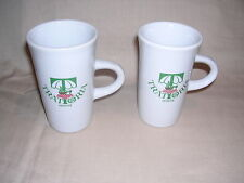 "Trattoria Hawaii Cappuccino Mugs White and Green Stands 4 1/4"" 2  1/2 "" Wide"