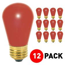 (12 Pack) 11S14/R CERAMIC RED Patio/String Sign Bulb 11 Watt S14 Medium E26 Base