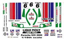 #6 LIQUI MOLY Porsche 935 2000 1/18th Scale Waterslide Decals