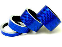 """4pc Bicycle Stem BLUE Carbon Spacer 1-1/8"""" 20 15 10 5mm"""