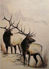 Elk Wildlife Painting Mountains Animals Greeting Card Antler Picture Watercolor