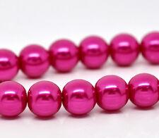 1 Strand Fuchsia Perle 32inch ~ ~ 10mm ronde perles de verre ~ ~ bracelets collier (6 cœurs)
