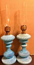 Antique Russian Matching Pair Blue Blown Glass Oil Kerosene Lamps
