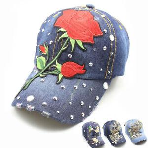 Women Snapback Baseball Cap Flower Denim Distressed Dad Hat Vintage Adjustable