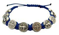 Saint St Benedict Evil Protection Medal on 8 Inch Adjustable Blue Cord Bracelet
