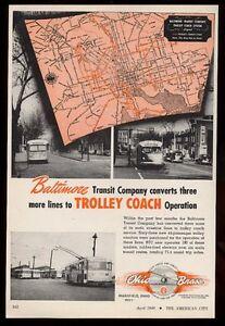 1949 Baltimore trolley coach 3 photo Ohio Brass trade print ad