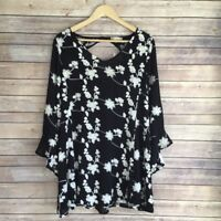 Altar'd State Women's Lexia Embroidered Dress Black White Floral Print, Size XS