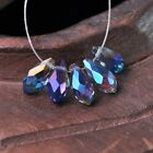 50pcs 12x6mm Teardrop Pendant Faceted Crystal Glass Loose Beads Blue Colorized