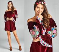 Wine Velvet Off Shoulder Poet Bell Sleeve Romantic Goth 284 mv Dress 1XL 2XL 3XL