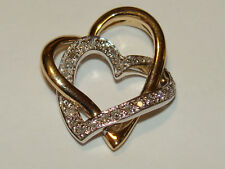10K DOUBLE HEARTS SOLID 2 Tone Y&W Gold Natural PAVE Diamond Pendant 2.3Gms