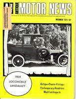 1909 Locomobile Landaulet Hot Rod - AMN Antique MOTOR NEWS November 1974 Issue