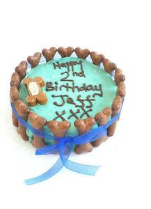 DOG BIRTHDAY CAKE PEANUT BUTTER treat puppy gift Christmas blue ribbon bones