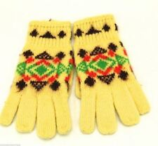 "Handknit Gloves Vtg Childrens 7.5"" Long 1950s Patterned Yellow 1950s"