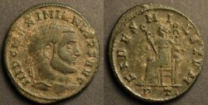 Maximianus AE Follis / FIDES MILITVM