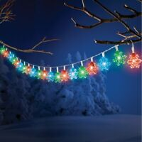 6 Foot Solar Powered LED Color Changing Snowflake Christmas String Lights