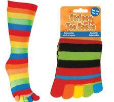 STRIPEY TOE SOCKS - 09600 RAINBOW COLOURFUL COMFY SNUG STRETCH ONE SIZE FITS ALL