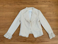 New Club Monaco Womens sz 0 off-white tweed fringe open front jacket blazer