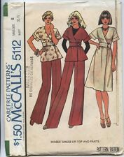 McCall's 5112 Sewing Pattern Misses' Wrap Top~Dress~Pants Size 8 VTG 70's UC HTF