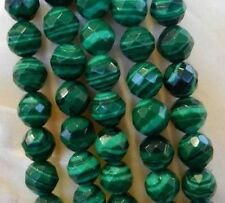 """8mm Faceted Green Malachite Gemstone Round Loose Beads 15"""""""