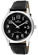 Croton Men's Japanese Quarts Genuine Leather Black Dial Watch CN307396BSBK