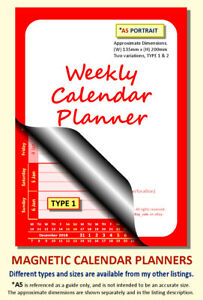 RED A5 MAGNETIC CALENDAR PLANNER, BESPOKE, CHOOSE START MONTH, YEAR & TYPE