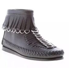 ALEXANDER WANG,Montana, black leather flat ankle boot, fringes & rings, Size 37