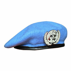 UN BLUE BERET United Nations Peacekeeping Force Cap Hat With UN Badge 58 59 60cm