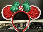 Disney Christmas CANDY CANE CUTIE PEPPERMINT Minnie Mouse Ears Headband