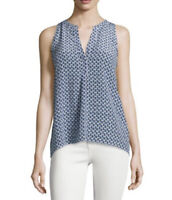 Joie S Blouse 100% Silk Aruna Sailboat Print Sleeveless Tunic Blue White NEW