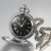 Herrenuhr Taschenuhr Rostfreier Stahl Quartz Uhr Silberne Pocket Watch