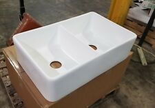 White Fireclay Farmhouse Double Bowl Kitchen Sink Heavy Duty Front Apron