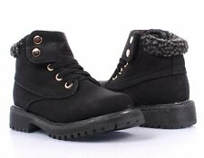 Black Color Hook & Loop Military Combat Girls Kids Youth Ankle Boots Size 10